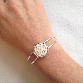 Handmade Essential oil diffuser silver plated cuff bracelet swirl design 3/4 inch clay pottery piece in bezel setting