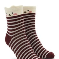 Stripe Cat Crew Socks