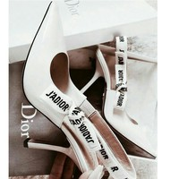Dior Pumps Women Sandals Kitten heels with bows Word Flag Lace up High Heel Shoes B-ALS-XZ White