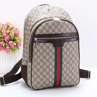 """GUCCI"" Casual Sport Laptop Bag Shoulder School Bag Backpack Coffee"
