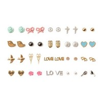 Love and Hearts Stud Earrings Set of 20 | Claire's