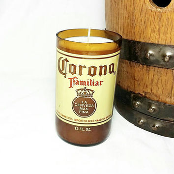 Recycled Beer Bottle Scented Soy Wax Candle/Corona Familiar Bottle Candle/Amber Glass Bottle/Botella de Cerveza/Oakmoss and Amber Scent