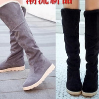Women Winter Warm Pull On Snow Boot Faux Suede Fur Lining Knee High Buckle Shoes = 1946151940