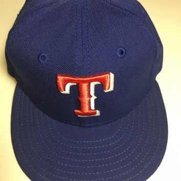 TEXAS RANGERS MLB RETRO NEW ERA 5950 BLUE W/ RED T GRAY UNDER  FITTED HAT