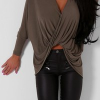 Amerezy Khaki Cross Over Top | Pink Boutique