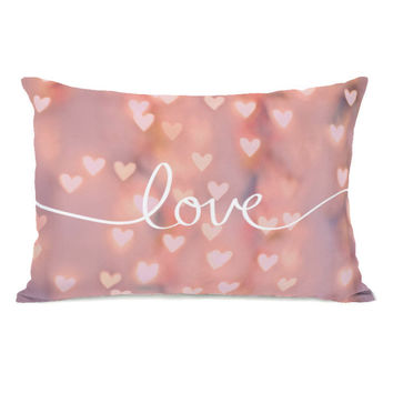 Script Love Pink Bokeh  Throw Pillow by OBC