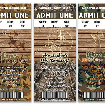Hunter Camo Birthday Party Invitation - Deer Hunting Birthday - Camouflage - Duck Camo - Boy Birthday Invitations - Buck - Target - Rustic