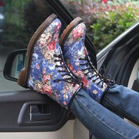 Flower Print Vintage Ankle Boots