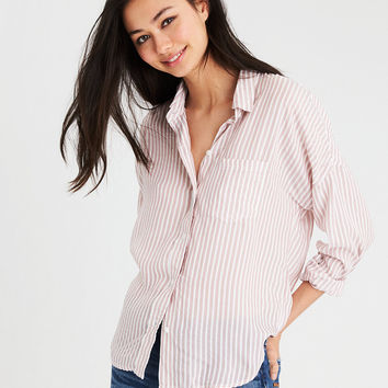 AE OVERSIZED STRIPED DOLMAN SHIRT, Pink