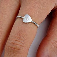 .925 Sterling Silver Ladies Heart Round Cut CZ Ring Size 4-10