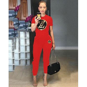 LV Louis Vuitton Summer Fashion Women Sexy Sequins Top Pants Trousers Set Two-Piece Sportswear Red