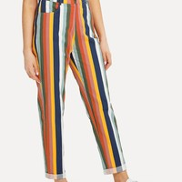 Pocket Front Striped Pants