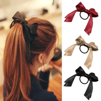 Women Satin Ribbon Bow Elastic Hair Band/Hair Tie Ring Rope Scrunchie Ponytail Holder Headbands Hair Accessories Hairbands
