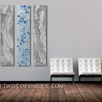 Industrial Metal abstract Wall art / 3 panel (48 Inches x 10 Inches)/ ORIGINAL ART / Metal Wall Art / Silver, blue, metal