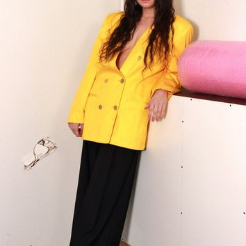 Yellow Double Breasted Blazer / M L