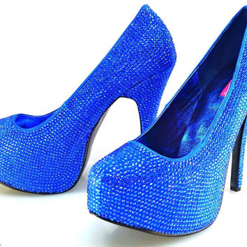 1991ba40108b Teeze 06R Royal Blue Satin Rhinestone Covered Platform High Heel