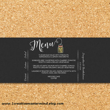 DIY  Menu Napkin Wrap Template Printable, Editable PDF Template, Instant Download, Digital, Chalkboard Mason Jars and Fireflies #1CM77-1