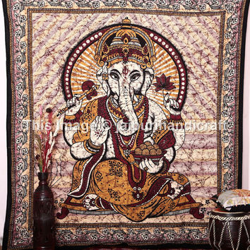 Hippie Boho Tapestry Bedspread, Queen Ethnic Home Decor Art, Ganesha Wall Hanging,  Wall Hanging Ethinic Multicolor Tapestry, Wall art