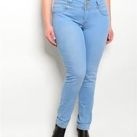 Light Wash Denim Jeans with 3 Button Closure