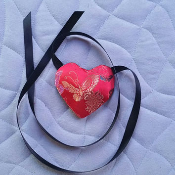 Red Satin Heart Eyepatch Eye Patch Butterflies Floral Design with Black Ribbon Ties READY TO SHIP