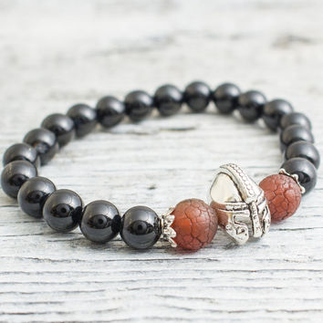 Black onyx stone and crackled dream agate beaded silver Spartan helmet stretchy bracelet, yoga bracelet, mens bracelet, womens bracelet