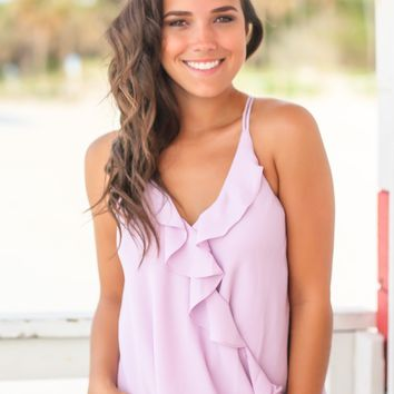 Lilac Top with Ruffles