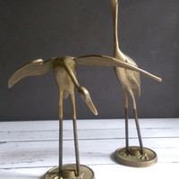 Brass Cranes/ Pair of Brass Cranes/ Vintage Brass Birds/ Brass Animal Statue