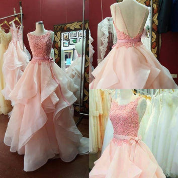 A-Line Backless Pink Beaded Prom Dresses