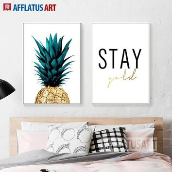 Canvas Painting Pineapple Letter Realistic Style Wall Art Posters And Prints Wall Pictures For Living Room Study Decor