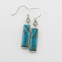 Blue Topaz & Turquoise Sterling Silver Oblong Earrings