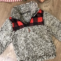 Kid's Red Buffalo Plaid Sherpa
