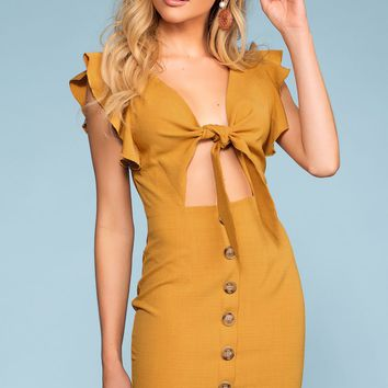 Bold And Beautiful Tie-Front Button Dress - Mustard