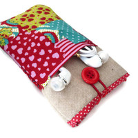 iPhone 6s fabric sleeve iphone 6s Plus case ipod classic ipod touch 6g Nexus 6 Red, hearts and linen
