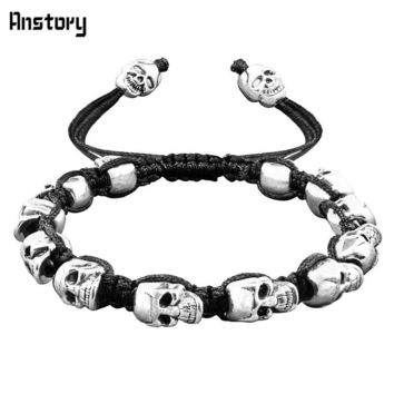 Smile Skull Skeleton Bead Bracelets Strand Vintage Boho Antique Silver Plated Handmade Rope Woven Craft Fashion Jewelry