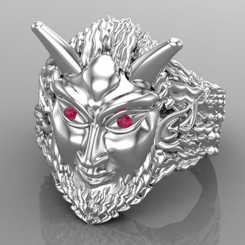 Men's Pan Ring with Ruby Eyes Solid 925