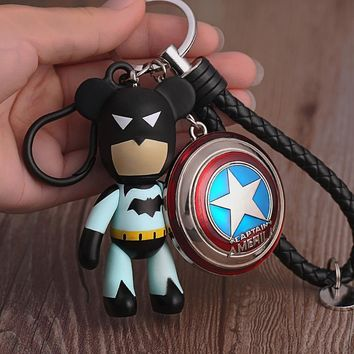 Batman Dark Knight gift Christmas Batman Avengers Character Captain America Shield KeyChain Bear PU Strap Key Chains Pendant for Backpack Car Keyring Accessories AT_71_6