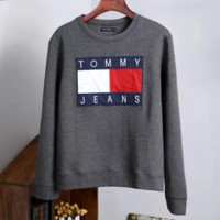 TOMMY Autumn And Winter New Fashion Bust Embroidery Letter Contrast Color Sports Leisure Couple Long Sleeve Sweater Top Dark Gray