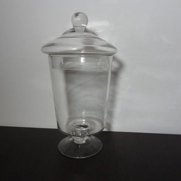 Vintage Clear Glass Ginger Jar Shaped Pedestal Apothecary Jar, Storage Jar, Terrarium Jar
