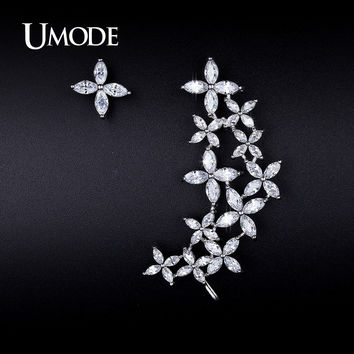 UMODE Luxury Mismatch Ear Cuff Earrings For Women Marquise CZ Crystal Brilliant Flower Stud Earrings Women Jewelry Gift UE0207