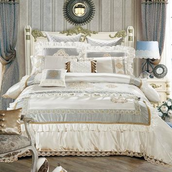 Cool Cotton Silk Queen/King Size White Beige Luxury Royal Bedding set Duvet Cover Cotton Bed Spread Bedlinen 11Pcs Decorative pillowAT_93_12