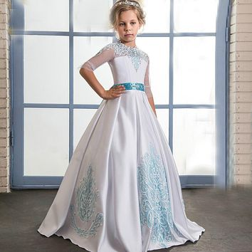 Abaowedding long turquoise kids dresses for girls size 8 10 12 lace communion dress with beading sash graduation gown children