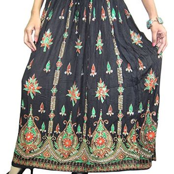 Women's Boho Skirts Black Sequin Embroidered Designer Long Skirt
