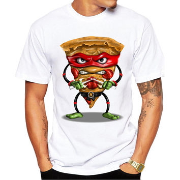 2017 Funny Food Design Men T Shirt Fashion Ninja Pizza Printed T-shirt Short Sleeve Casual Tops