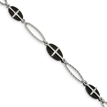 Stainless Steel Polished Black IP-plated with 1in Extender Cross Bracelet 7in