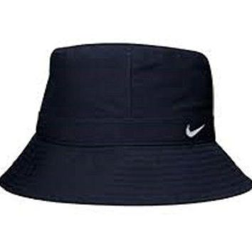Mens Womens Nike Logo Navy Blue Cotton Bucket Hat Hats summer Holiday Casual M L