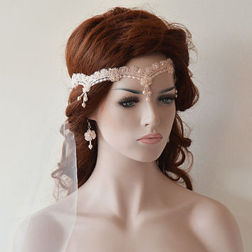 Wedding Lace headband, Blush Pink Bridal headband, bridal hair accessory, Wedding Hair Accessories, Vintage Style