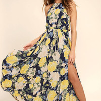 Precious Memories Navy Blue and Yellow Floral Print Maxi Dress