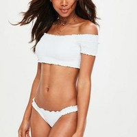 Missguided - White Ruched Bardot Bikini Set