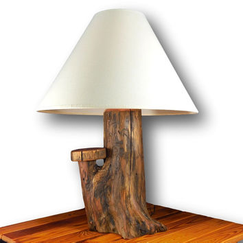 Rustic Wood Lamp, Stump Lamp, Reclaimed Wood Lamp, Rustic Home Decor, Reclaimed Wood Decor, Log lamp, Desk Lamp, Office lighting