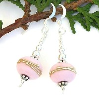 Pastel Pink Lampwork Glass Handmade Earrings Sterling Beaded Jewelry